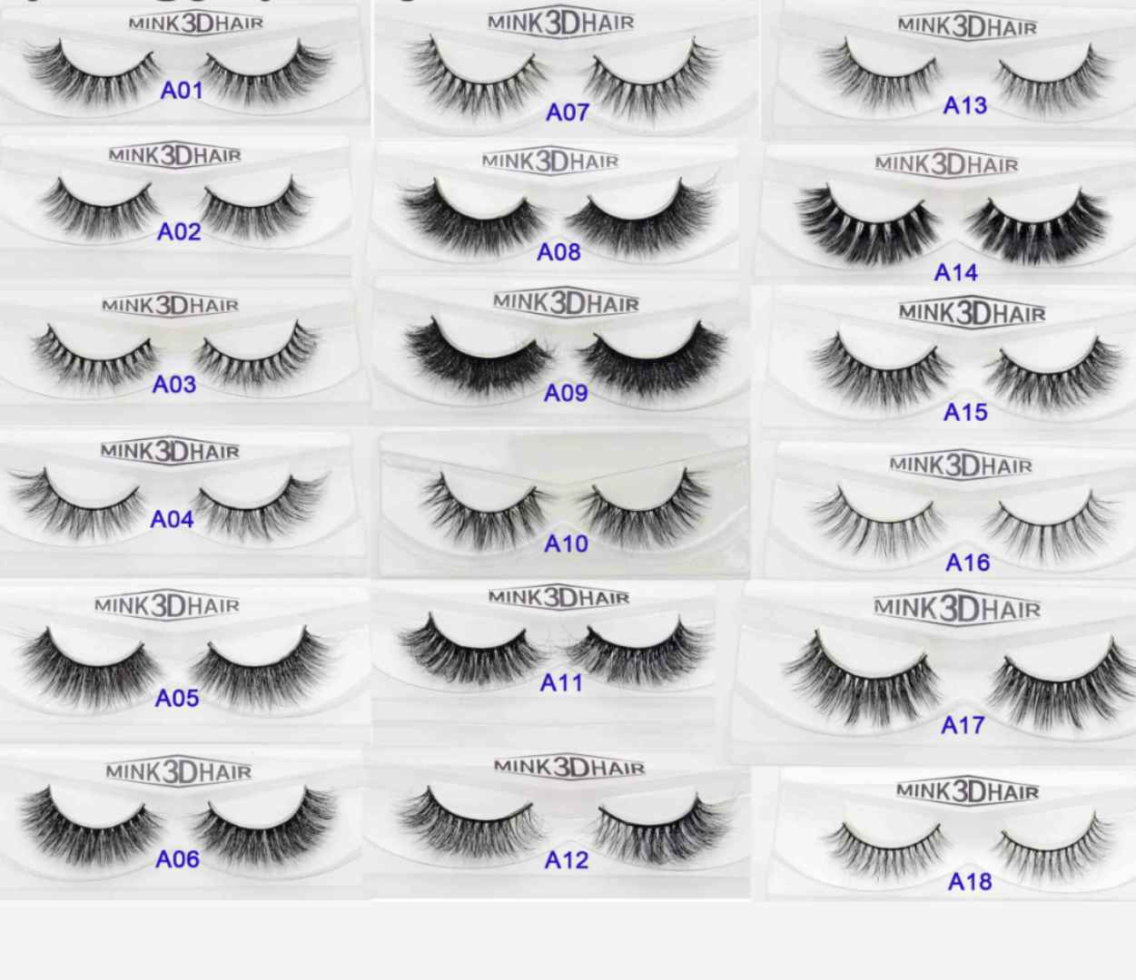 A, Eyelashes high quality,made by hand Style A01-15